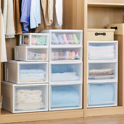 Clear Drawer Plastic Shoe Storage Boxes Stackable Container Box Organizer