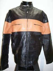 Diamond Plate Large L Leather Motorcycle Jacket Combine Ship Discount
