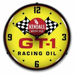 New L.e.d. Kendall Gt-1 Racing Oil - Led Lighted Retro Clock - Free Ship