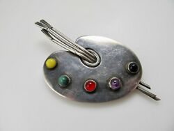 VINTAGE ARTISTS PALETTE PIN BROOCH GEMSTONE 950 SILVER MEXICO