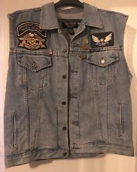 Nice Large Harley Davidson Jean Jacket With Patches Ca 03402