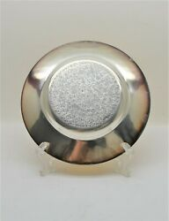+ Nice Older Dish Paten + Hand Etched + 6 1/4 Diameter + Gold And Silver Cu557