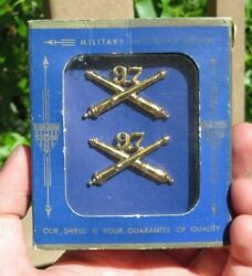Ww2 Us Army Military 97th Field Artillery Battalion Officer Collar Brass Insigni