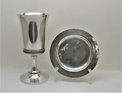 + Nice Older Chalice And Paten Set + Pewter - Silverplated + 7 1/2 Ht. Cu562