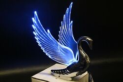 Flying Swan 40and039s 50and039s Hood Ornament Custom Hot Rod Truck Clear Wings Blue Led