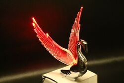 Flying Swan 40and039s 50and039s Hood Ornament Custom Hot Rod Truck Clear Wings Red Led