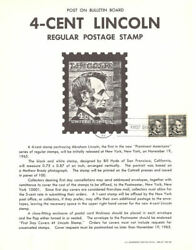 1282 4c Abraham Lincoln Stamp Poster - Unofficial Souvenir Page Flat