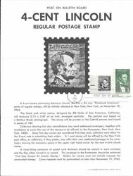 1282 4c Abraham Lincoln W/1113 Stamp Poster - Unofficial Souvenir Page Fd