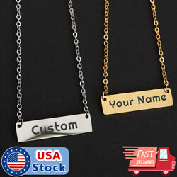 Personalized Engraved 2 Sides Custom Your Name Stainless Steel Necklace Pendant $8.98