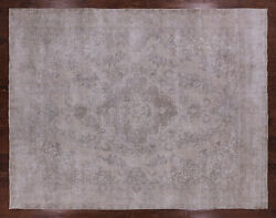 9and039 8 X 12and039 5 Vintage White Wash Handmade Wool Rug - Q2565