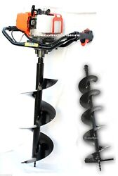 52cc Gas Power One Man Post Hole Earth Soil Auger Digger Free 10 And 6 Auger Bits
