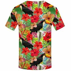 Mens Summer T-Shirts Tops Clothes Parrot Flower HipHop Big Sizes Cool Streetwear