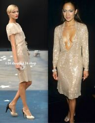 08p 8000 Nude-beige Tiered Cape Hand Sewn Sequin Dress-fr 38/36
