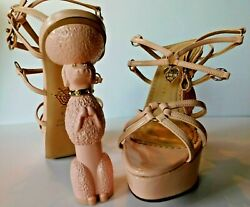 Charlotte Olympia Rose Pink Patent Leather Platform Cherie Poodle Heels Size 6.5