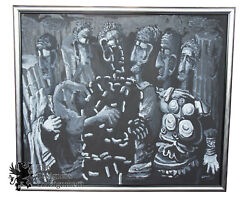 The Senate By Tom Keesee 1985 Black And White Expressionist Acrylic Painting 72
