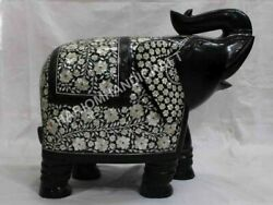 16 Marble Trunk Up Elephant Precious Mother Of Pearl Fine Floral Inlaid E1325