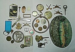Junk Drawer Lot If Coins Keys Pins Military Pins Keychains Watchparts Fish Tin