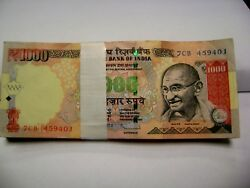 Full Bundle Of 100 Notes Of Rs 1000 India Gandhi Letter R Sign S Rao 2012 Rare