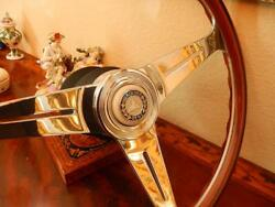 Mercedes 560sl Wood Steering Wheel Nardi 15.3 Small Ivory Horn Button New