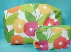 CLINIQUE 2pc Cosmetic Bag Set Makeup Travel Large amp; Small Zipper BRIGHT FLOWER $6.98