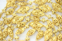 22k Yellow Gold Eastern Extra Long Necklace Trefoil And Oval Bead Design