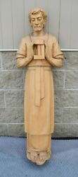 + Beautiful Older Hand Carved Wood Statue Of St. Joseph From Italy 54 Ht Sg8