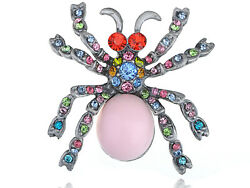 Artistic Fashion Colorful Austrian Crystal Rhinestone Bead Spider Pin Brooch