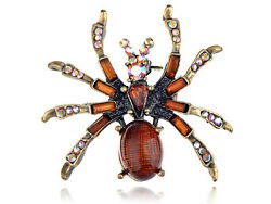 Golden Tone Brown Rainbow Colored Crystal Rhinestones Spider Brooch Pins
