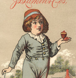 1882 Larkin Cos Boraxine Trade Card, Victorian Boy Playing With A Toy Top X825