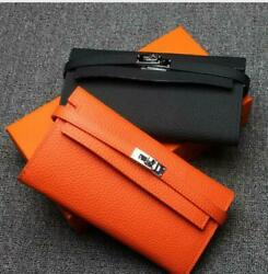 Womens Designer Inspired 100% Real Leather  Special LOCK Zipper Wallet Color sz