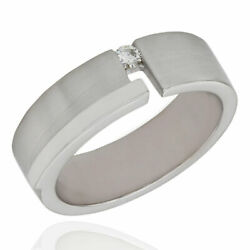 Gentlemans Diamond Solitaire Band/ Ring In 14k White Gold