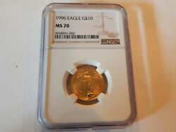 1996 American Gold Quarter Ounce Eagle Coin Graded Ms 70 By Ngc