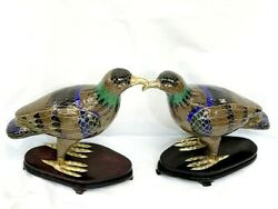 Vintage Chinese Cloisonne Bird Figurine With Wooden Stand