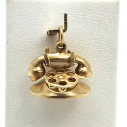14k Gold 3d I Love You Rotary Dial Phone Telephone Charm Pendant 3 Grams