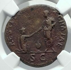 Hadrian As Restitvtor Of Achaia Greece Authentic Ancient Roman Coin Ngc I78893