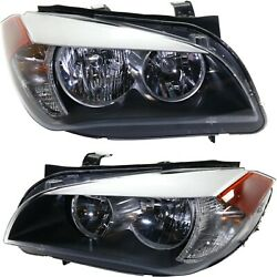 Halogen Headlight Set For 2013-2015 Bmw X1 Left And Right W/ Bulbs Pair