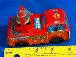 1950s Tin Litho Fire Truck Wind Up Bell Mij Japan 4 Toy Car Plastic Wheels Rare