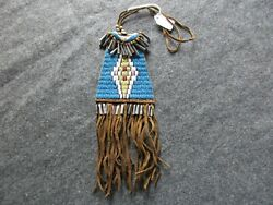 Native American Beaded Tobacco Pouch Indian Leather Medicine Bag Atl-03509