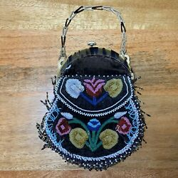 Old Antique 19th Century Native American Iroquois 2 Sided Glass Beaded Bag Pouch