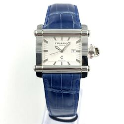 Charriol Blue Leather White Dial Stainless Ladies Quartz Watch Cchl