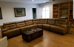 Leather Sectional 7 Pcs With 4 Motorized Leg Lifts Brown Leather .