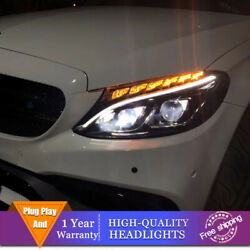 For Benz C-class W205 Headlight Double Lens Beam Projector Hid Led Drl 2015-2018