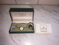 Vintage Gucci Model 1100L  1200L Women's Gold Watch Complete In Box Paperwork!