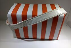 Beach cooler vynl cooler orange and white striped. $16.99