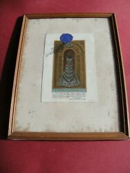 Christian large framed 1800s reliquary 2nd class relic veil Virgin Mary