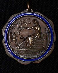 1904 Annual Interscholastic Meet Bronze 3rd Prize Shot Put On Tome 1889 Medal