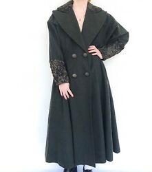 Vintage 80s Fendi Forest Green Coat With Persian Lamb Fur Accents