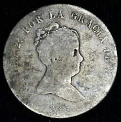 Spain 2 Reales 1836 Cr-g Ag Silver Kma513.1 Isabel Ii Light Tone