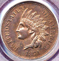 1871 1c Nice Brown Color-indian Cent++