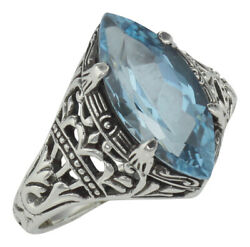 Antique Victorian Style Blue Topaz Filigree Ring - Sterling Silver